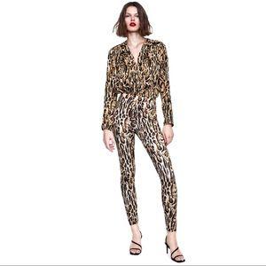 Zara Leopard Print Deep V Neck Bodysuit